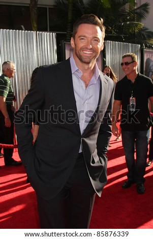 "LOS ANGELES - OCT 2:  Hugh Jackman arriving at the ""Real Steal"" Premiere at the Universal City Walk on October 2, 2011 in Los Angeles, CA - stock photo"