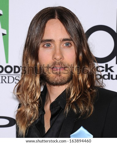 LOS ANGELES - OCT 21:  Jared Leto arrives to Hollywood Film Awards Gala 2013  on October 21, 2013 in Beverly Hills, CA                 - stock photo