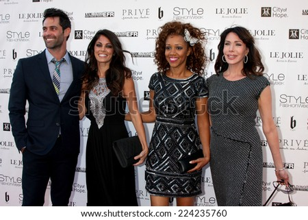 """LOS ANGELES - OCT 15:  Jason Shane Scott, Lindsay Hartley, Chrystee Pharris, Hunter Tylo at the Sue Wong """"Fairies and Sirens"""" Fashion Show at The REEF on October 15, 2014 in Los Angeles, CA - stock photo"""