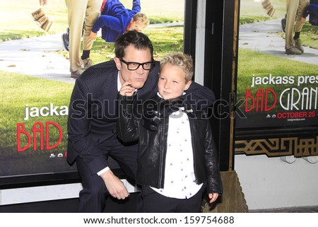"""LOS ANGELES - OCT 23: Johnny Knoxville, Jackson Nicoll at the Premiere of """"Jackass Presents: Bad Grandpa"""" at the TCL Chinese Theater on October 23, 2013 in Los Angeles, California - stock photo"""