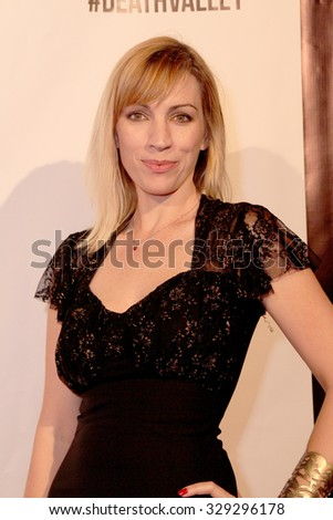 """LOS ANGELES- OCT 17: Juliette Beavan arrives at the """"Death Valley"""" film premiere Oct. 17, 2015 at Raleigh Studios in Los Angeles, CA. - stock photo"""