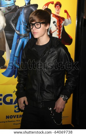 "LOS ANGELES - OCT 30:  Justin Bieber arrives at the ""Megamind"" LA Premiere & Halloween Extravaganza at Mann's Chinese Theater on October 30, 2010 in Los Angeles, CA"