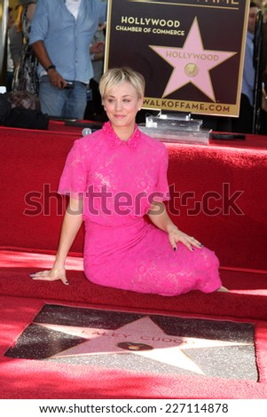 LOS ANGELES - OCT 29:  Kaley Cuoco at the Kaley Cuoco Honored With Star On The Hollywood Walk Of Fame at the Hollywood Blvd. on October 29, 2014 in Los Angeles, CA - stock photo