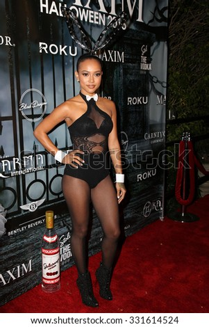 LOS ANGELES - OCT 24:  Karrueche Tran at the MAXIM Magazine's Official Halloween Party at the Private Estate on October 24, 2015 in Beverly Hills, CA - stock photo