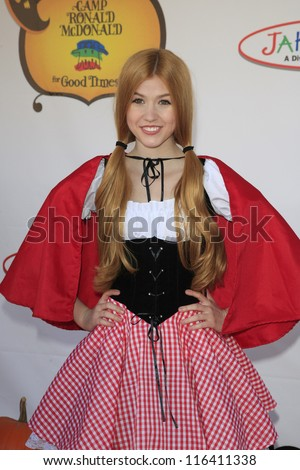LOS ANGELES - OCT 21: Katherine McNamara at the Camp Ronald McDonald for Good Times 20th Annual Halloween Carnival at the Universal Studios Backlot on October 21, 2012 in Los Angeles, California - stock photo