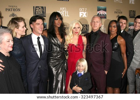 "LOS ANGELES - OCT 3:  Kathy Bates, S Paulson, Finn Wittrock, Naomi Campbell, Lady Gaga, Ryan Murphy, Angela Bassett at the ""AHS: Hotel"" Premiere at Regal Theaters on October 3, 2015 in Los Angeles, CA"