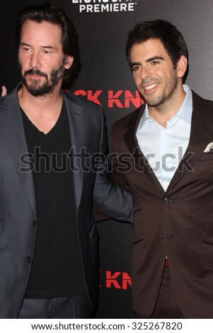 """LOS ANGELES - OCT 7:  Keanu Reeves, Eli Roth at the """"Knock Knock"""" Los Angeles Premiere at the TCL Chinese 6 Theaters on October 7, 2015 in Los Angeles, CA - stock photo"""