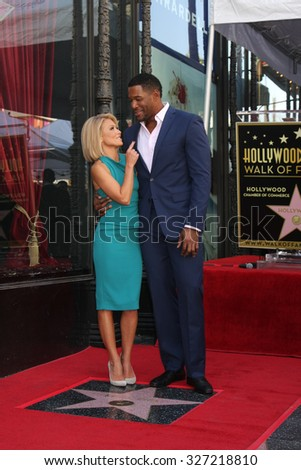 LOS ANGELES - OCT 12:  Kelly Ripa, Michael Strahan at the Kelly Ripa Hollywood Walk of Fame Ceremony at the Hollywood Walk of Fame on October 12, 2015 in Los Angeles, CA - stock photo