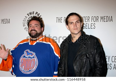 LOS ANGELES - OCT 22:  Kevin Smith, Jason Mewes arrives at  the Paley Center for Media Annual Los Angeles Benefit at The Lot on October 22, 2012 in Los Angeles, CA - stock photo