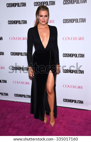 LOS ANGELES - OCT 13:  Khloe Kardashian arrives to the Cosmopolitan's 50th Birthday Party on October 13, 2015 in Hollywood, CA.                 - stock photo