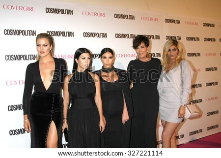 LOS ANGELES - OCT 12:  Khloe Karsahian, Kourtney Kardashian, Kim Kardashian West, Kris Jenner, Kylie Jenner at the Cosmo's 50th Anniversary Party at the Ysabel on October 12, 2015 in Los Angeles, CA - stock photo