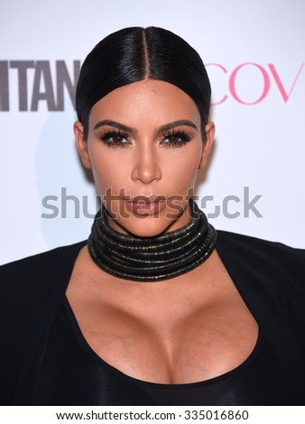 LOS ANGELES - OCT 13:  Kim Kardashian arrives to the Cosmopolitan's 50th Birthday Party on October 13, 2015 in Hollywood, CA.                 - stock photo