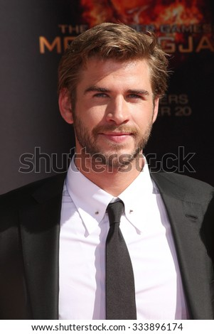 LOS ANGELES - OCT 31:  Liam Hemsworth at the Hunger Games Handprint and Footprint Ceremony at the TCL Chinese Theater on October 31, 2015 in Los Angeles, CA - stock photo