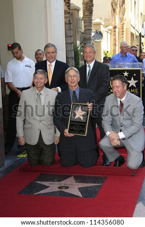 LOS ANGELES - OCT 1: Mark Harmon, Leron Gubler, Les Moonves at a ceremony as Mark Harmon is honored with a star on the Hollywood Walk of Fame on October 1, 2012 in Los Angeles, California - stock photo