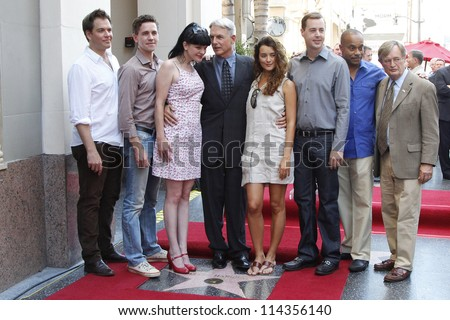 LOS ANGELES - OCT 1: Mark Harmon, NCIS cast, Cote De Pablo, Pauley Perrette, Michael Weatherly at a ceremony as Mark Harmon is honored with a star on October 1, 2012 in Los Angeles, California - stock photo