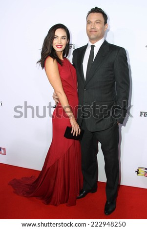 LOS ANGELES - OCT 11:  Megan Fox, Brian Austin Green at the Ferrari Celebrates 60 Years In America  at Wallis Annenberg Center for Performing Arts on October 11, 2014 in Beverly Hills, CA - stock photo