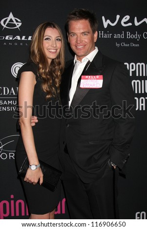 "LOS ANGELES - OCT 26:  Michael Weatherly arrives at ""The Pink Party '12"" at Hanger 8 on October 26, 2012 in Santa Monica, CA - stock photo"