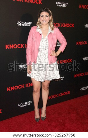 """LOS ANGELES - OCT 7:  Molly Tarlov at the """"Knock Knock"""" Los Angeles Premiere at the TCL Chinese 6 Theaters on October 7, 2015 in Los Angeles, CA - stock photo"""