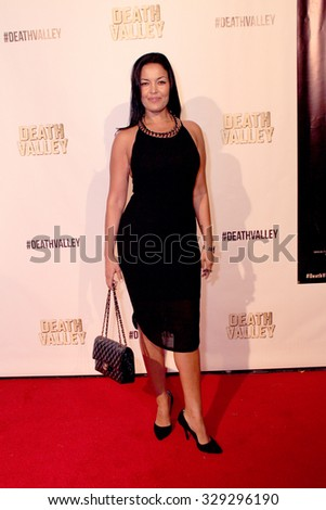 """LOS ANGELES- OCT 17: Nawal Bengholati arrives at the """"Death Valley"""" film premiere Oct. 17, 2015 at Raleigh Studios in Los Angeles, CA. - stock photo"""