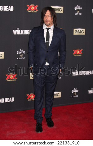 "LOS ANGELES - OCT 2:  Norman Reedus at the ""The Walking Dead"" Season 5 Premiere at Universal City Walk on October 2, 2014 in Los Angeles, CA - stock photo"