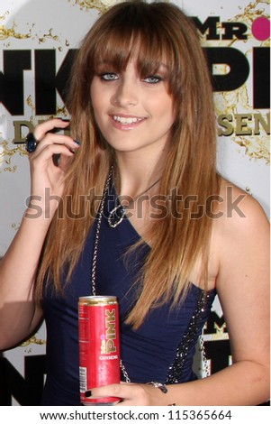 "LOS ANGELES - OCT 11:  Paris Jackson arrives at the ""Mr. Pink"" Energy Drink Launch at Beverly Wilshire Hotel on October 11, 2012 in Beverly Hills, CA - stock photo"