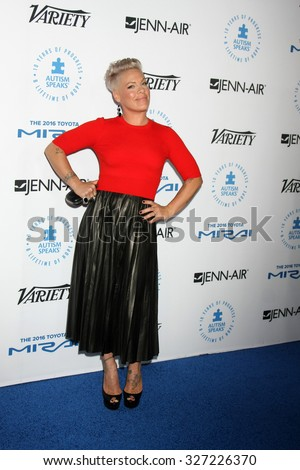 LOS ANGELES - OCT 8:  Pink, Alecia Moore Hart at the Autism Speaks Celebrity Chef Gala at the Barker Hanger on October 8, 2015 in Santa Monica, CA - stock photo