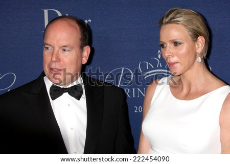 LOS ANGELES - OCT 8:  Prince Albert II of Monaco, Princess Charlene of Monaco at the Princess Grace Foundation Gala 2014 at Beverly Wilshire Hotel on October 8, 2014 in Beverly Hills, CA - stock photo