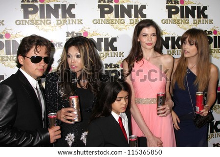 "LOS ANGELES - OCT 11:  Prince Michael , LaToya,  and Blanket Jackson, Monica Gabor, Paris Jackson arrive at the ""Mr. Pink"" Launch at Beverly Wilshire Hotel on October 11, 2012 in Beverly Hills, CA - stock photo"