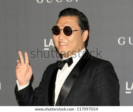 LOS ANGELES - OCT 27:  Psy arrives at the LACMA 2012 Art + Film Gala at Los Angeles County Musem of Art on October 27, 2012 in Los Angeles, CA - stock photo