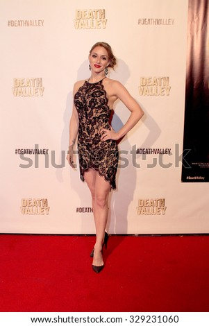 "LOS ANGELES- OCT 17: Rachele Royale arrives at the ""Death Valley"" film premiere Oct. 17, 2015 at Raleigh Studios in Los Angeles, CA. - stock photo"
