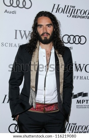 """LOS ANGELES - OCT 20:  Russell Brand arrives at  the """"Reel Stories, Real Lives"""" Event at Milk Studios on October 20, 2012 in Los Angeles, CA - stock photo"""