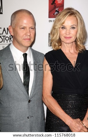 "LOS ANGELES - OCT 13:  Ryan Murphy, Jessica Lange arrives at the ""American Horror Story: Asylum"" Premiere Screening at Paramount Theater on October 13, 2012 in Los Angeles, CA - stock photo"