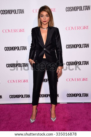 LOS ANGELES - OCT 13:  Sarah Hyland arrives to the Cosmopolitan's 50th Birthday Party on October 13, 2015 in Hollywood, CA.                 - stock photo