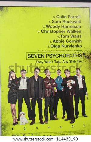 "LOS ANGELES - OCT 30:  Seven Psychopaths Poster  at the ""Seven Psychopaths"" Premiere at Bruin Theater on October 30, 2012 in Westwood, CA - stock photo"