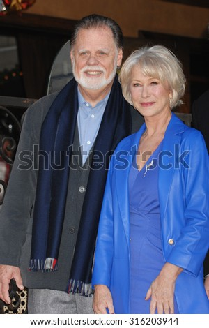 LOS ANGELES - OCT 4:  Taylor Hackford and wife Helen Mirren arrives at the Helen Mirren Star On The Hollywood Walk Of Fame Ceremony  on January 3, 2013 in Los Angeles, CA              - stock photo