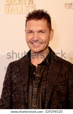 """LOS ANGELES- OCT 17: TJ Scott arrives at the """"Death Valley"""" film premiere Oct. 17, 2015 at Raleigh Studios in Los Angeles, CA. - stock photo"""