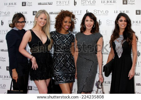 """LOS ANGELES - OCT 15:  Vanessa Marcil, Crystal Hunt, Chrystee Pharris, Hunter Tylo, Lindsay Hartley at the Sue Wong """"Fairies and Sirens"""" Fashion Show at The REEF on October 15, 2014 in Los Angeles, CA - stock photo"""