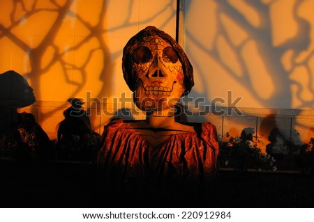 LOS ANGELES - October 27: Day of the Dead (Dia De Los Muertos) celebration at Hollywood Forever Cemetery on October 27, 2012 in Los Angeles, CA. - stock photo