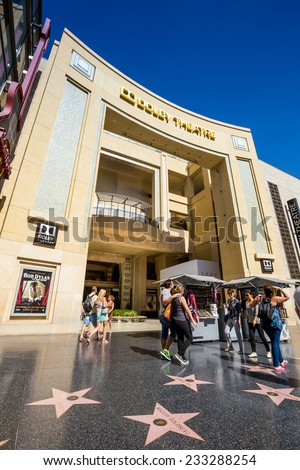 LOS ANGELES - OCTOBER 25: Dolby Theatre (Kodak Theatre) is home of Academy Awards (popularly known as the Oscars) as seen in Los Angeles (Hollywood) on October 25, 2014 - stock photo