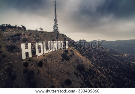 LOS ANGELES - October 2015: Hollywood Sign aerial view on a gloomy day. - stock photo
