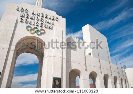 LOS ANGELES - OCTOBER 17: Memorial Coliseum is site of many landmark events including two summer Olympics the latest in 1984. The landmark building may become obsolete. October 17, 2011, Los Angeles - stock photo