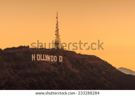 LOS ANGELES - OCTOBER 25: The world famous landmark Hollywood Sign on October 25, 2014 in Los Angeles, California. - stock photo