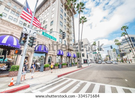 LOS ANGELES - OCTOBER 15, 2015: view of Wilshire Blvd, next to Rodeo Drive in Beverly hills. The area is home to the most high-class stores of the region. - stock photo