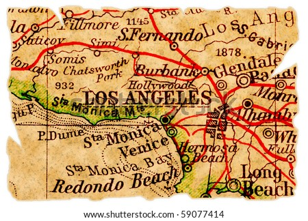 Los Angeles on an old torn map, isolated. Part of the old map series.