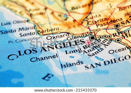 Los Angeles on atlas world map - stock photo