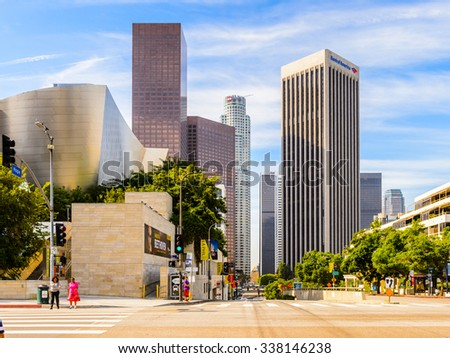 LOS ANGELES - SEP 28, 2015: Architecture of the Downtown of Los Angeles, California. Downtown Los Angeles is the central business district of Los Angeles, California - stock photo