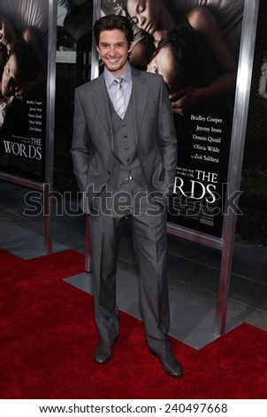 "LOS ANGELES - SEP 12:  Ben Barnes arrives to the ""The Words"" Premiere  on September 12, 2012 in Hollywood, CA                 - stock photo"