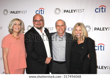 "LOS ANGELES - SEP 16:  Carol Mendelsohn, Anthony E. Zuiker, Jonathan Littman, Ann Donahue at the Fall TV Preview - ""CSI"" Farewell Salute at the Paley Center on September 16, 2015 in Beverly Hills, CA - stock photo"