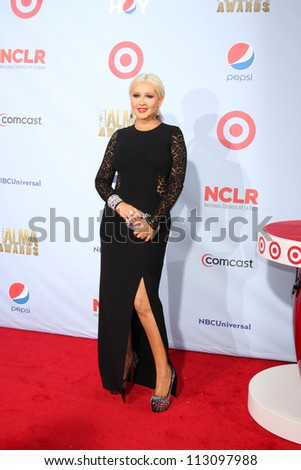 LOS ANGELES - SEP 16:  Christina Aguilera arrives at the 2012 ALMA Awards at Pasadena Civic Auditorium on September 16, 2012 in Pasadena, CA - stock photo