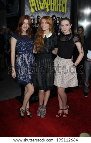 """LOS ANGELES - SEP 24:  Dani Thorne, Bella Thorne, Kathryn Newton arrives at the """"Pitch Perfect'"""" Premiere at ArcLight Cinemas on September 24, 2012 in Los Angeles, CA - stock photo"""